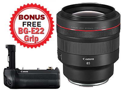 85mm RF f1.2L USM Lens with FREE BG-E22 Grip