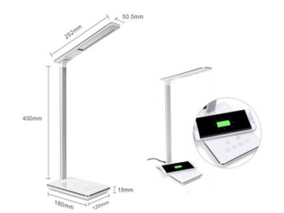 Wireless Charging LED Desk Lamp White
